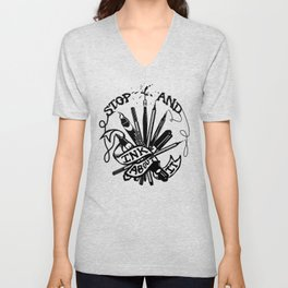 Stop And Ink About It Unisex V-Neck