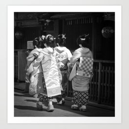 Black & White Geisha Japan (Gion II 舞妓) Art Print