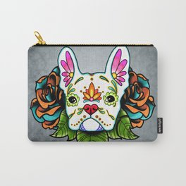 French Bulldog in White - Day of the Dead Sugar Skull Dog Carry-All Pouch