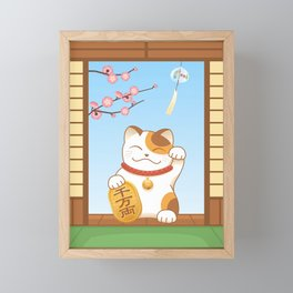 Maneki Neko Framed Mini Art Print