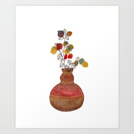 Watercolor plant & ink line art 4 Art Print