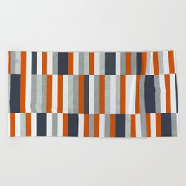 Orange, Navy Blue, Gray / Grey Stripes, Abstract Nautical Maritime Design by Beach Towel