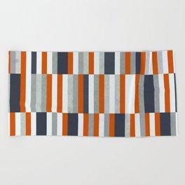 Orange, Navy Blue, Gray / Grey Stripes, Abstract Nautical Maritime Design by Beach Towel