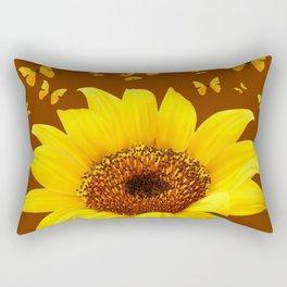 COFFEE BROWN YELLOW SUNFLOWER & BUTTERFLIES Rectangular Pillow