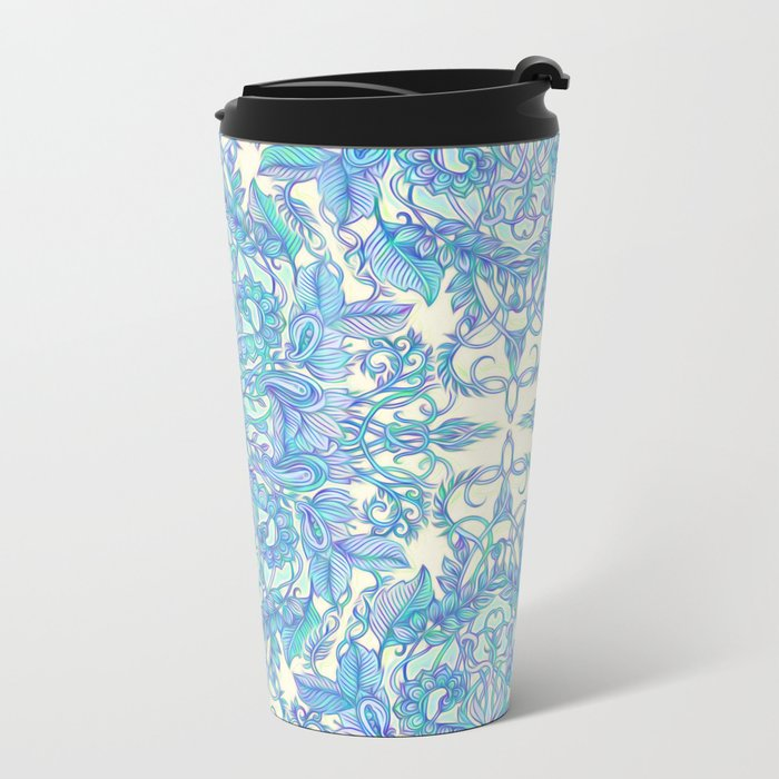 Lilac, Mint & Aqua Art Nouveau Pattern Metal Travel Mug