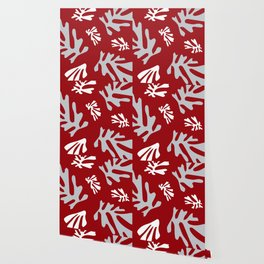 Matisse Silver & Red Holiday Leaves Wallpaper