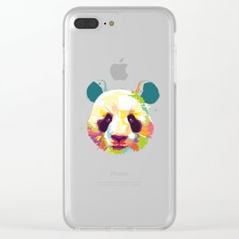 Panda Colorful Varation Clear iPhone Case