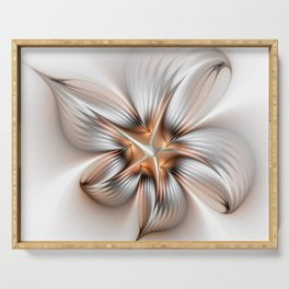 Elegance of a Flower, modern Fractal Art Serving Tray