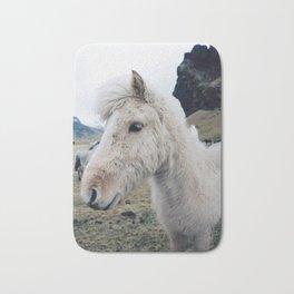 White Horse in Iceland Bath Mat