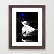 Blown Away ( Watercolor Abstract artwork, Feminine, Elegant, Black, Blue ) Framed Art Print