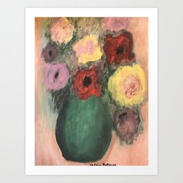 Florals in a green vase Art Print