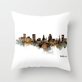 Baltimore Watercolor Skyline Throw Pillow