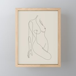 Single Nude - Beige Framed Mini Art Print