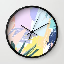 Pastel Collage Palms Wall Clock