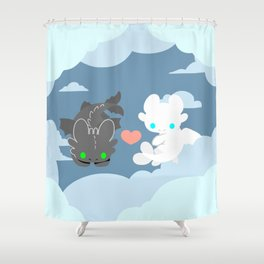 NIGHT LIGHT DRAGONS Shower Curtain
