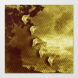 gold butterflies and abstract landscape Canvas Print