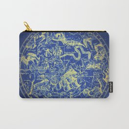 Yellow on Blue Infinity Vintage Astrology Star Map Carry-All Pouch