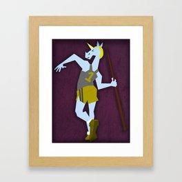 Javelin Throw Unicorn Framed Art Print