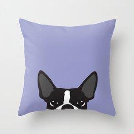 Boston Terrier Violet Throw Pillow