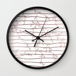 Elegant Rose Gold White Geometric Floral Wall Clock