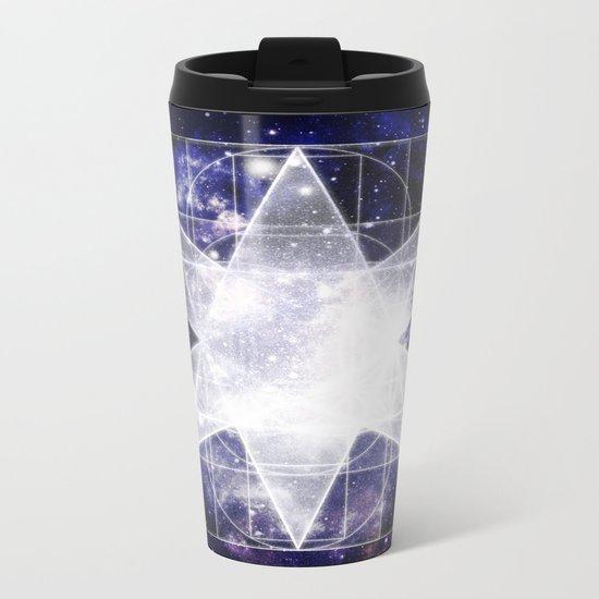 Sacred Geometry : Dark Blue Galaxy Metal Travel Mug