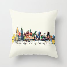 Philadelphia skyline comic Throw Pillow