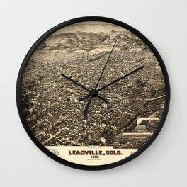 Bird's Eye View of Leadville, Colorado (1882) Wall Clock