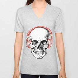 DJ Skull with Headphones - Rave Unisex V-Neck