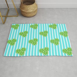 Lime Slices on Aqua Stripes Rug