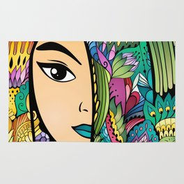Girl With Colorful Hair Rug