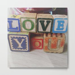 LoveYou Vintage Children's Wood Block Art Metal Print