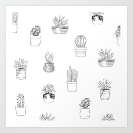 Potted Cactus Pattern Black and White Art Print