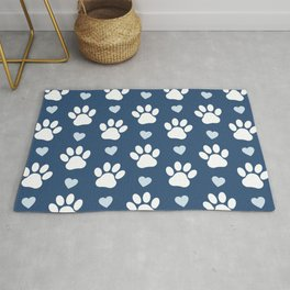 Dog Paws, Traces, Animal Paws, Hearts - Blue White Rug
