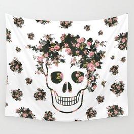 Flower Skull, Floral Skull, Pink Flowers on Human Skull Wall Tapestry