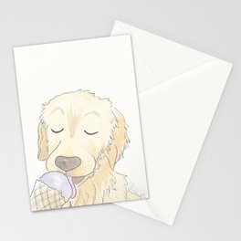 Labrador Dog and Lavender Ice-Cream Love Stationery Cards