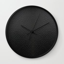 Black faux leather texture Wall Clock