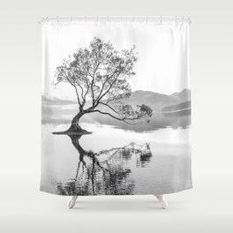 Wanaka Tree New Zealand Nature Photograph Black And White Shower Curtain