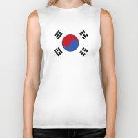 korean Biker Tanks featuring South Korean Flag  by Laura Ruth