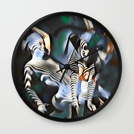 0169-PJ+NIS Sisters Abstracted Nude Zebra Girls in Green and Blue Wall Clock