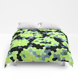 Cell Print Home Decor Graphic Design Pastel Colors Green Grey Blue Black Mint Lime Kiwi Comforters