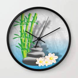 Meditation decorations of bamboo, stones and flowers Wall Clock