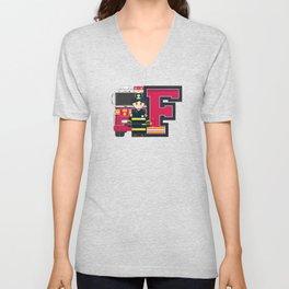 F is for Fireman Illustration Unisex V-Neck