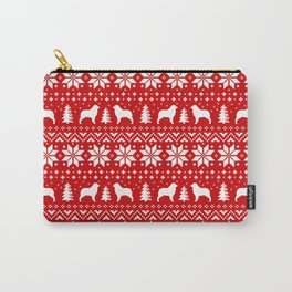 Australian Shepherd Silhouettes Christmas Sweater Pattern Carry-All Pouch