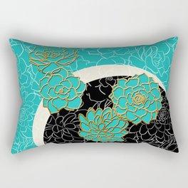 Golden Flowers on Luxury Blue Rectangular Pillow