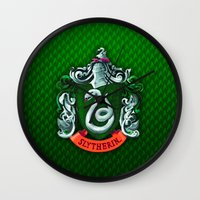 slytherin Wall Clocks featuring SLYTHERIN  by Smart Friend