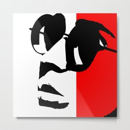 Contemporary Hipster - Black, White, Red Vector Pop Art Metal Print