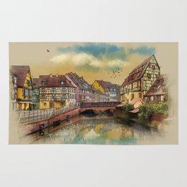 panorama city of Colmar France Rug