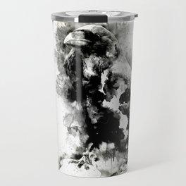 Watercolor Crow, Black and White Crow, Crow Painting, Cool Crow, Ink Crow Travel Mug