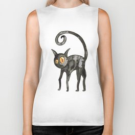 Black cat watercolor Biker Tank