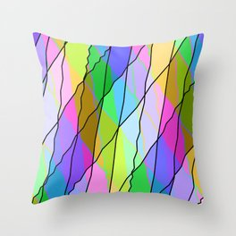 Mirrored square shards curved pink intersecting ribbons and gentle lines. Throw Pillow